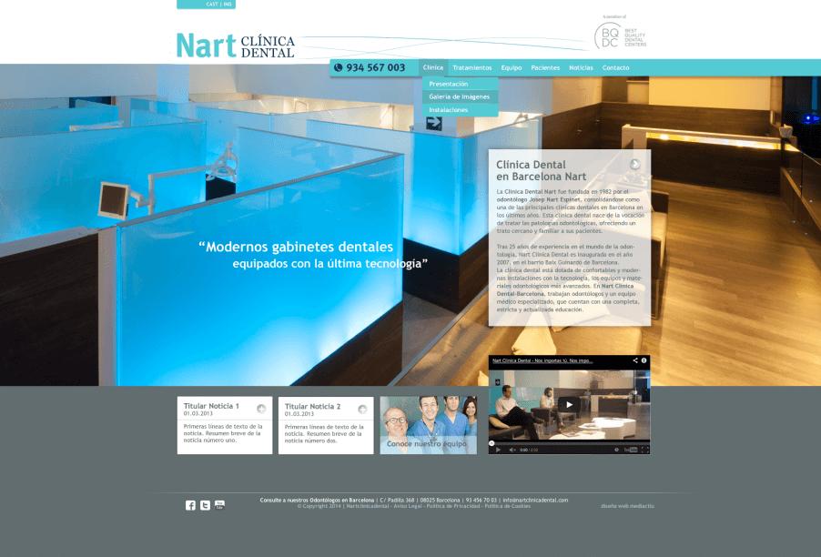 web clinica nart Home 2014 902x612 - Mediactiu crea la nova web de la prestigiosa Clinica dental Nart de Barcelona