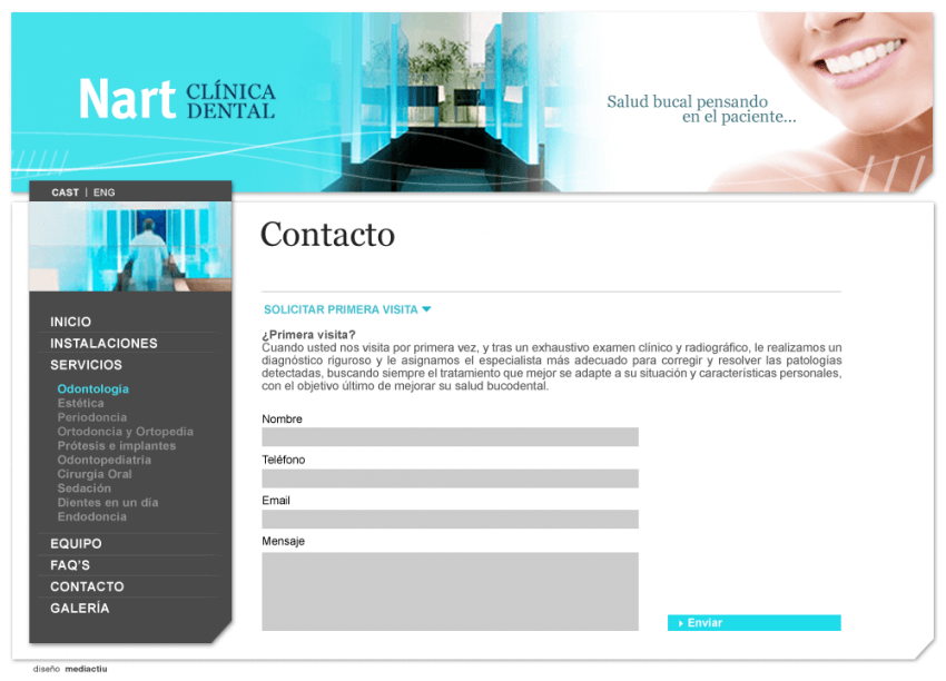 web clinica nart 850x612 - Mediactiu crea la nova web de la prestigiosa Clinica dental Nart de Barcelona