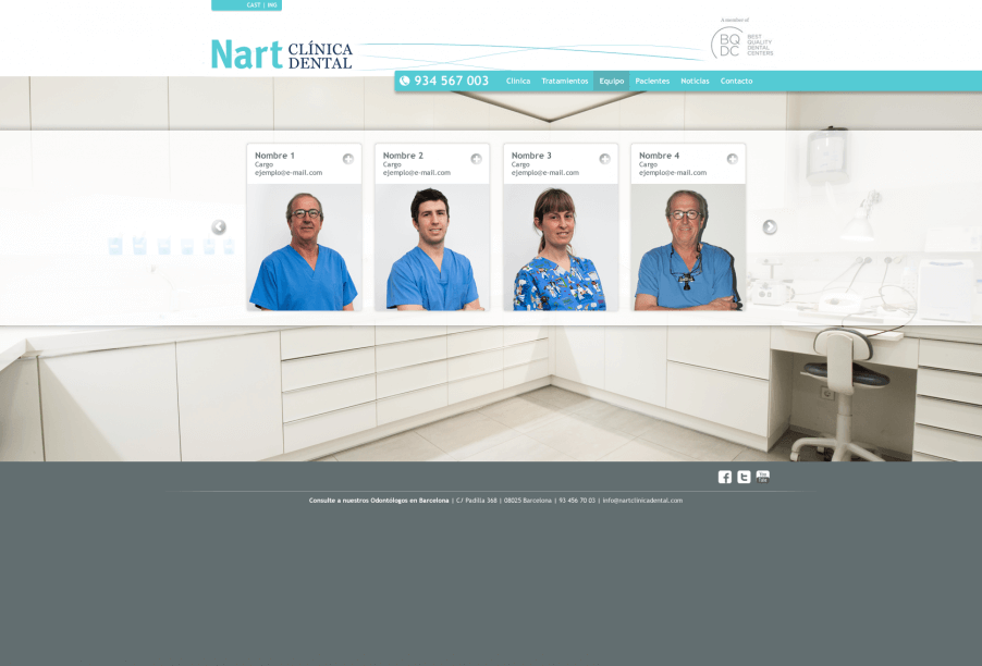 web clinica nart B 2013 Equipo 902x612 - Mediactiu crea la nova web de la prestigiosa Clinica dental Nart de Barcelona