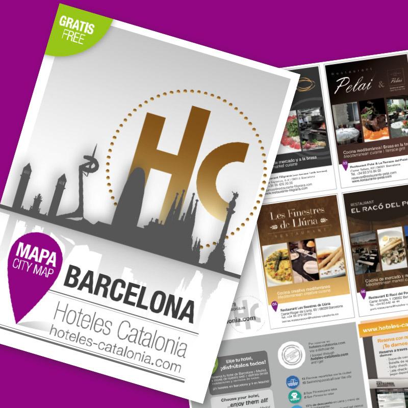 diseno de mapa hoteles barcelona - Diseño gráfico de mapa de hoteles