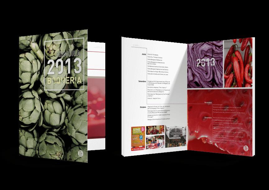 Boquería Memoria Mediactiu editorial design mockup 866x612 - Presentación de la memoria anual del Mercado de la Boquería 2013