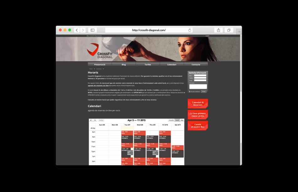 branding crossfit diagonal barcelona web calendario horario 950x612 - Proyecto global de comunicación para CrossFit Diagonal