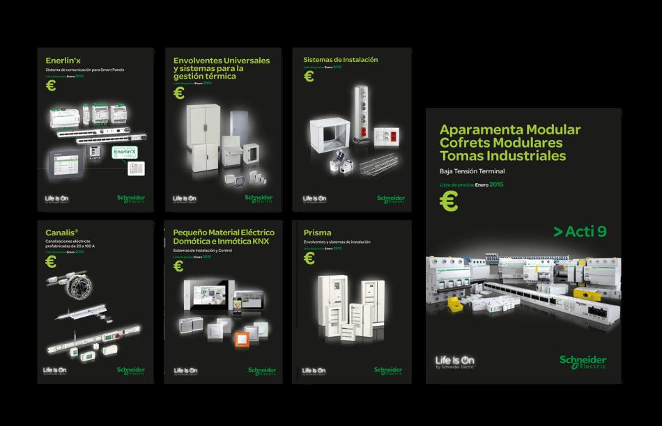Schneider Electric editorial catalogo maquetacion disseny barcelona mediactiu promocion covers 950x612 - Restyling de tarifas de Schneider Electric