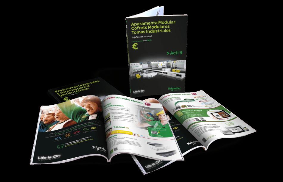 Schneider editorial cover back catalogo tarifas electric design graphic 950x612 - Restyling de tarifas de Schneider Electric