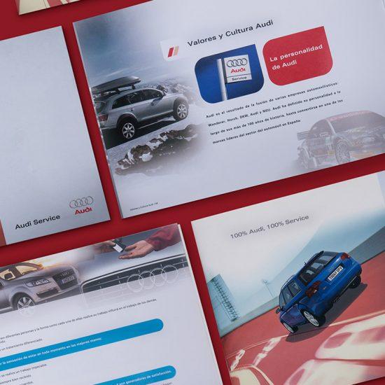 diseno de catalogo marca audi 550x550 - Catálogo formativo para empleados de Audi