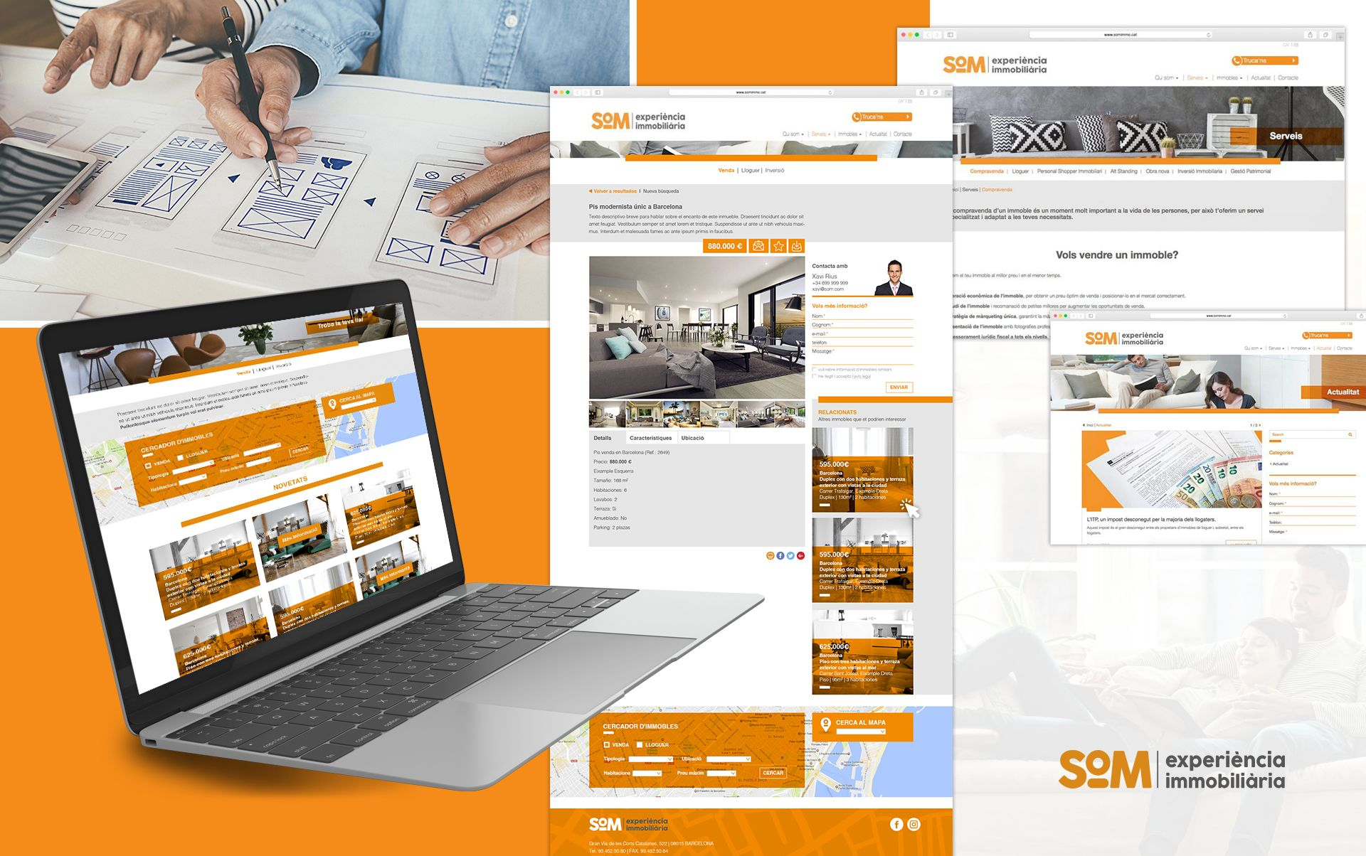 web para inmobiliaria - Naming, branding, registro de marca, aplicaciones de marca...
