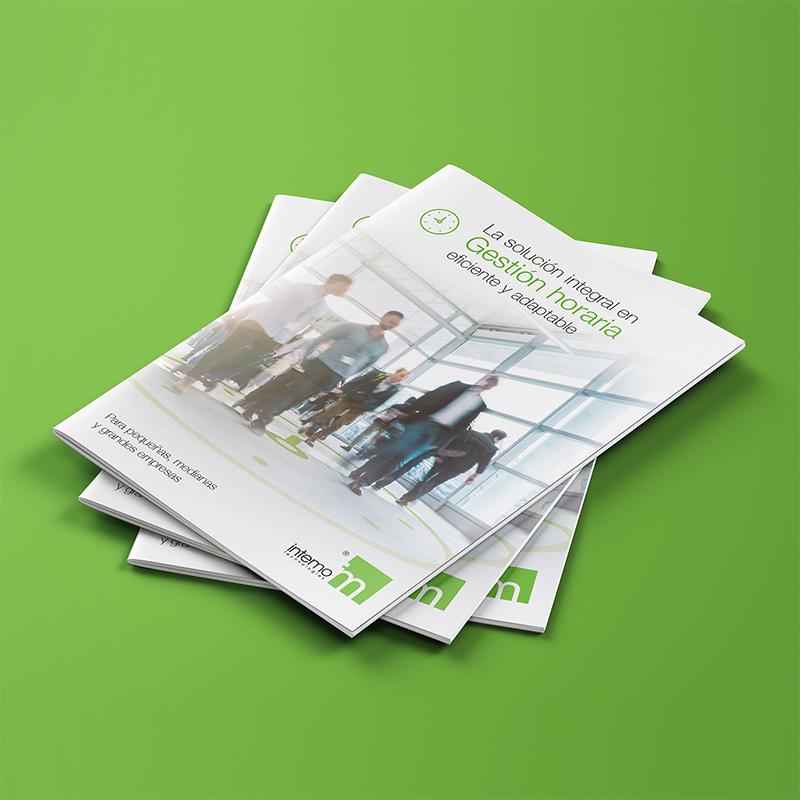 diseno de folleto corporativo control horario - Comunicación comercial de soluciones en gestión horaria