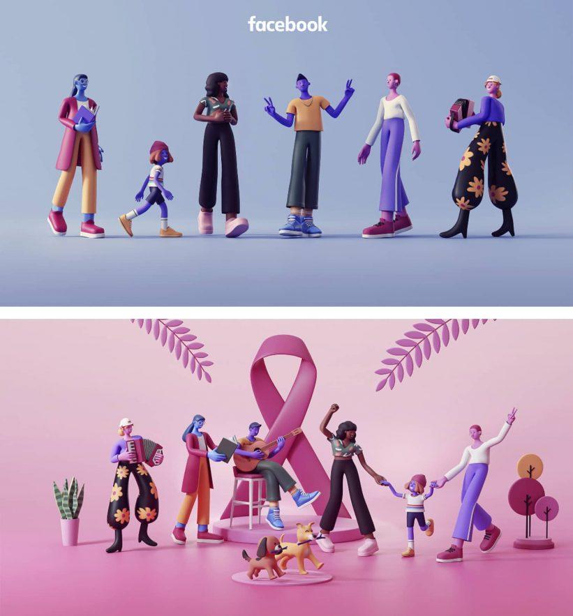 creacion de personajes 3d para facebook 821x883 - 10 tendencias en diseño gráfico para un año muy esperado. ¡Bienvenido 2021!