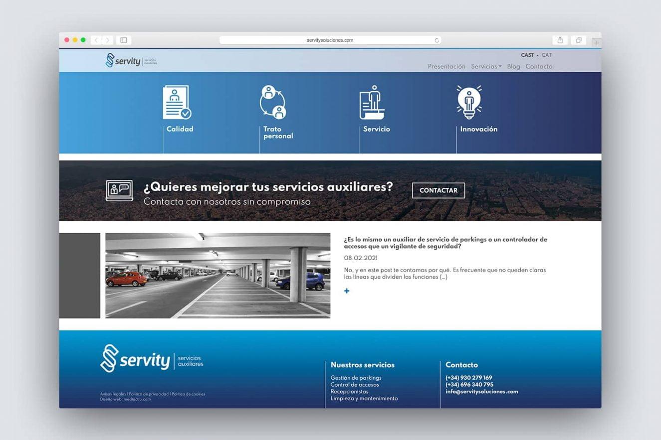 maquetacion de pagina web empresa de servicios